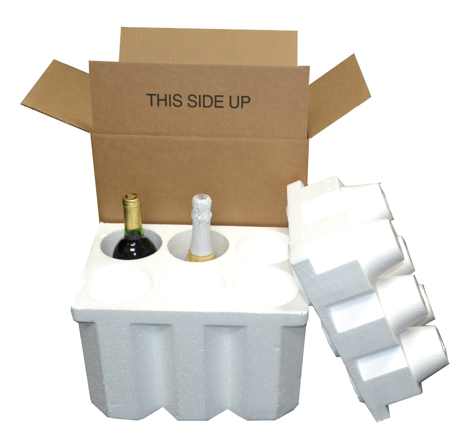 6 Bottle Styrofoam Wine Champagne Shipping Cooler And Box